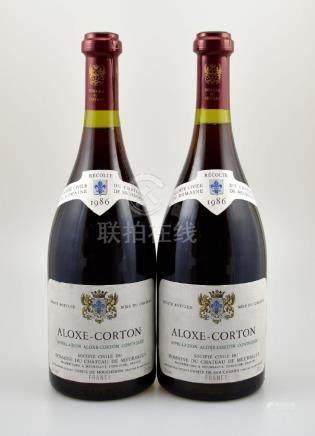 2 bottles of 1986 Aloxe Carton Chateau de Meursault