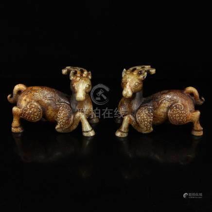 A Pair Vintage Hetian Jade Statues - Fortune Deer