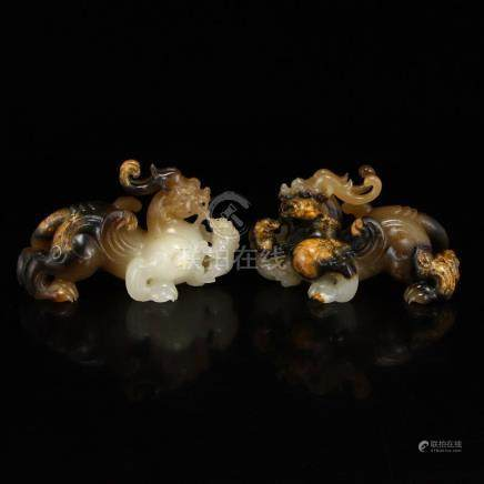 Superb Chinese Hetian Jade Lucky Beast Statues