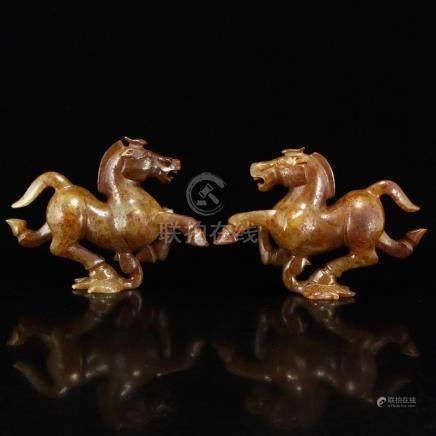 A Pair Vintage Hetian Jade Statues - Horses & Swallow