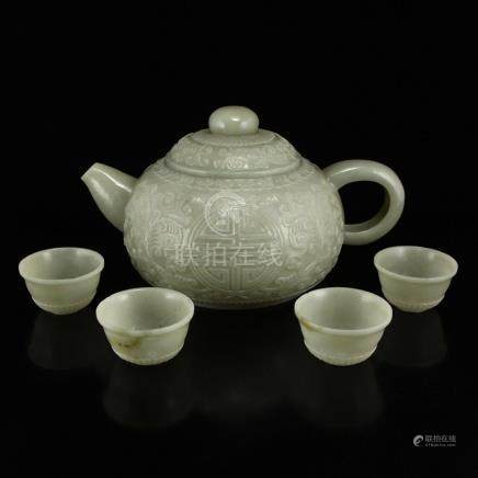 Set Superb Chinese Hetian Jade Low Relief Teapot & Cups