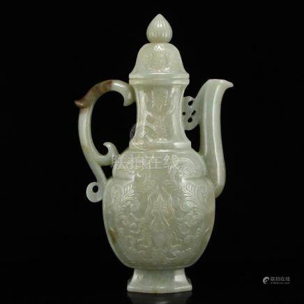 Chinese Qing Dy Hetian Jade Low Relief Wine Pot