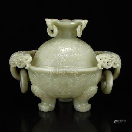 Chinese Qing Dy Hetian Jade Double Rings Incense Burner
