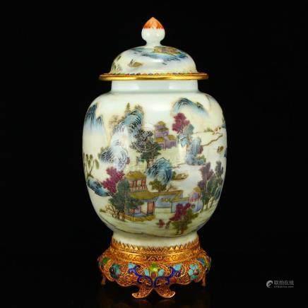 Beautiful Gilt Edge Famille Rose Porcelain Jar