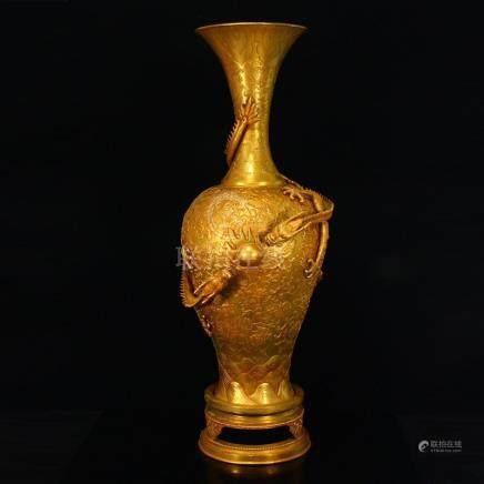 760mm Huge Gilt Gold Red Copper Double Dragon Vase