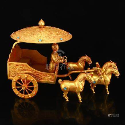 Gilt Red Copper Inlay Gems Statue - Figure & Carriage