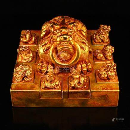Set Vintage Gilt Gold Red Copper Divine Beasts Seals
