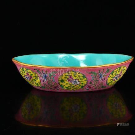 Chinese Gilt Edges Famille Rose Porcelain Brush Washer