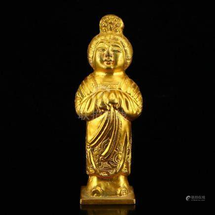 Chinese Tang Dy Gilt Gold Red Copper Figure Statue
