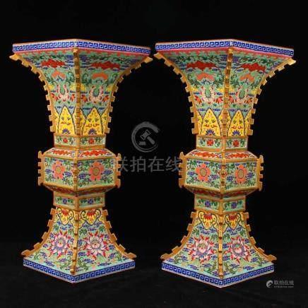 A Pair Chinese Gilt Gold Famille Rose Porcelain Vases