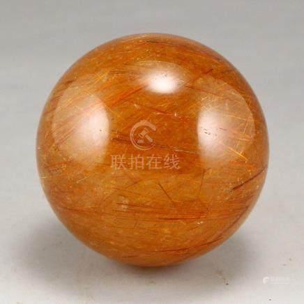 Chinese Natural Yellow Hair Crystal Ball