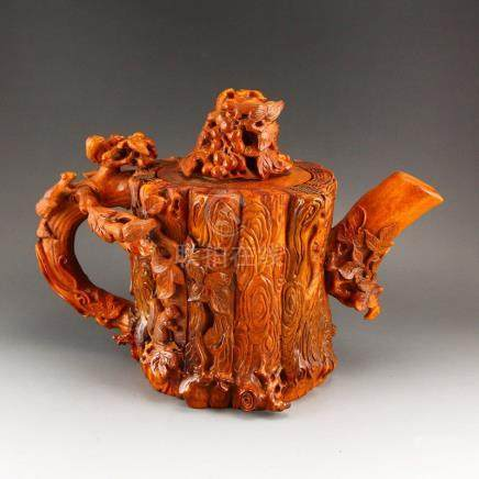 Chinese Ming Dynasty Deer Horn Big Teapot Statue