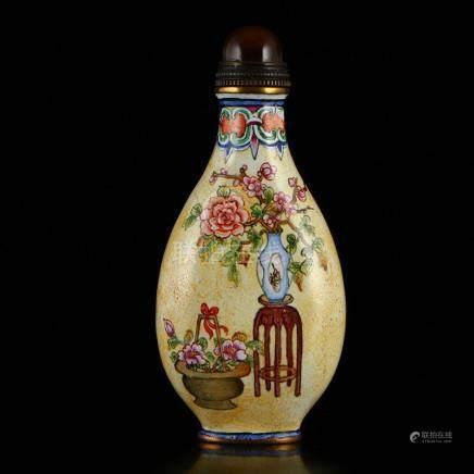 Vintage Gilt Gold Red Copper Enamel Snuff Bottle