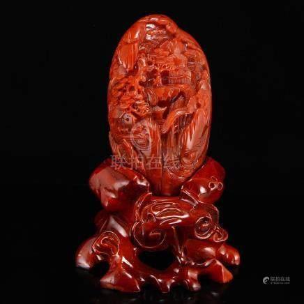 Superb Chinese Natural Nan Hong Agate Statue