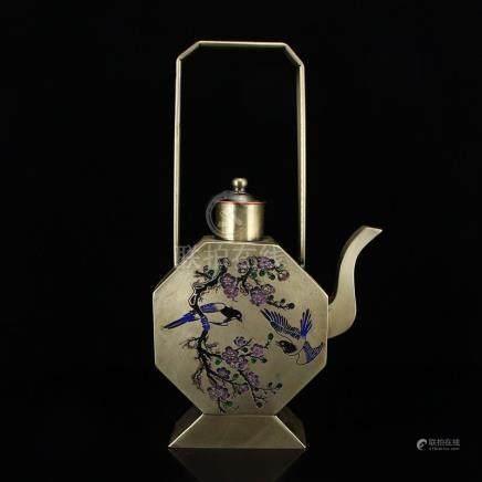Chinese White Copper Teapot w Magpie & Plum Blossom