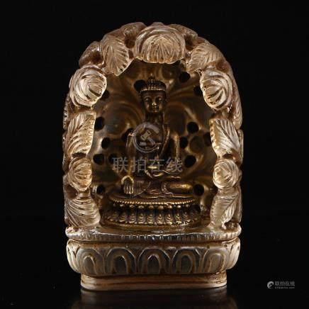 Gilt Bronze Siddhartha Buddha Statue w Crystal Shrine