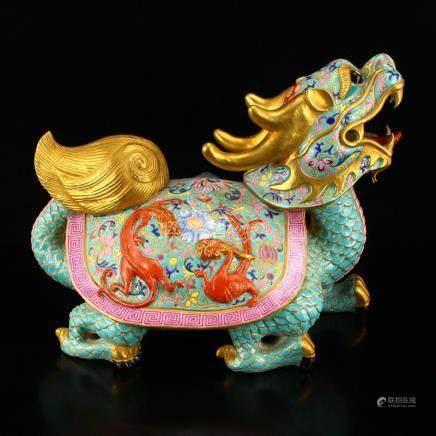 Gilt Gold Famille Rose Porcelain Dragon Turtle Statue