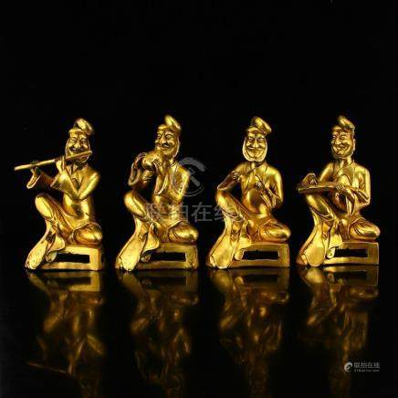 Four Chinese Tang Dynasty Gilt Gold Bronze Statues