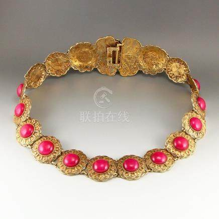 Exquisite Gilt Gold Red Copper Inlay Red Jade Waistband