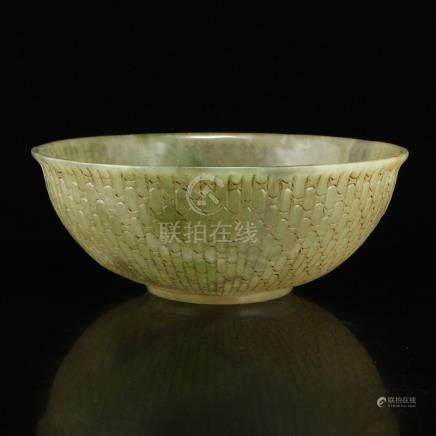 Chinese Qing Dy Hetian Jade Low Relief Bowl
