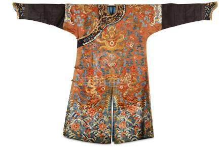 A CHINESE BROWN EMBROIDERED 'DRAGON' ROBE, JIFU. Q