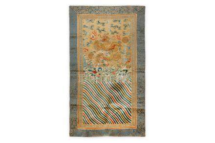 TWO CHINESE SILK PANELS. 19th/20th Century. One depicting a gold dragon chasing a sacred pearl of