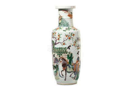 A CHINESE FAMILLE ROSE ROULEAU VASE. Qing Dynasty, 19th Century. Painted with an equestrian lady and