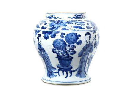 A CHINESE BLUE AND WHITE 'LADIES' BALUSTER VASE. Qing Dynasty, Kangxi period. Painted with four
