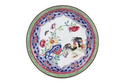 A CHINESE CANTON ENAMEL 'COCKERELS' DISH. Qing Dynasty, 19th Century. Painted with a pair of