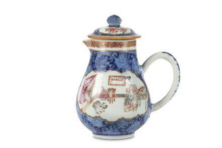 A CHINESE FAMILLE ROSE ENAMELLED BLUE AND WHITE JUG AND COVER. Qing Dynasty, Yongzheng period. The
