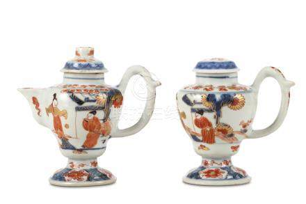 A CHINESE IMARI MUSTARD POT AND A EWER AND COVER. Qing Dynasty, 18th Century. Each with an ovoid,
