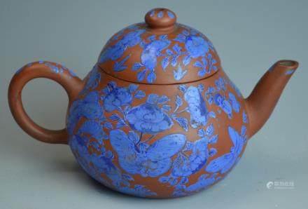 Chinese Blue Enamel Yi Xing Teapot