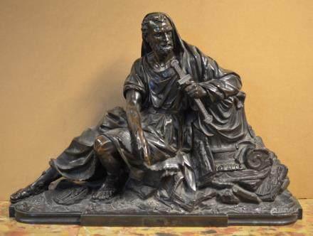 19th Century Continental Bronze Figure of Scholar