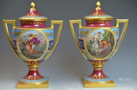 Pair of 19th Century Painted Royal  Vienna Vases
