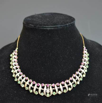 Antique Indian Gold Diamond Ruby Emerald Necklace
