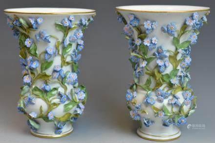 Pair of Meissen Carved Flower Vases