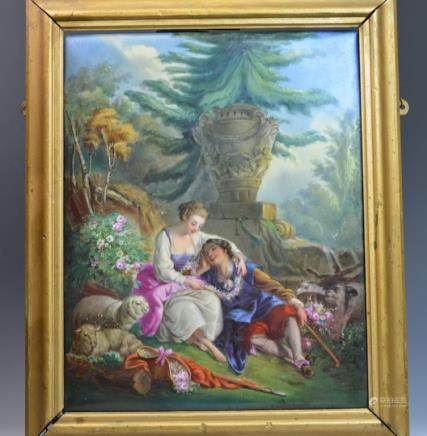 19th C Boucher Style Porcelain Plaque Painting