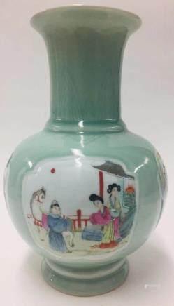 Chinese Celadon Famille Rose Porcelain Vase