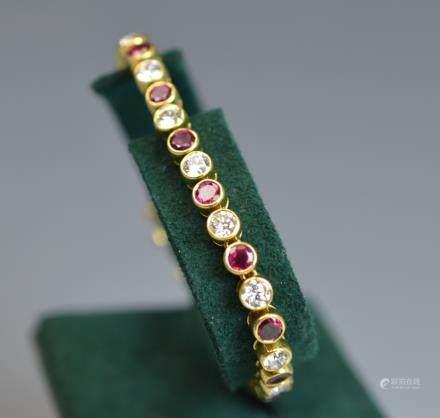 Harry Winston 18k Gold Diamond Ruby Bracelet