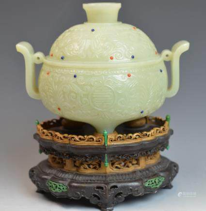 Chinese Jade Incense inlaid with stones.