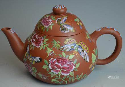 Chinese Butterfly Painted Teapot