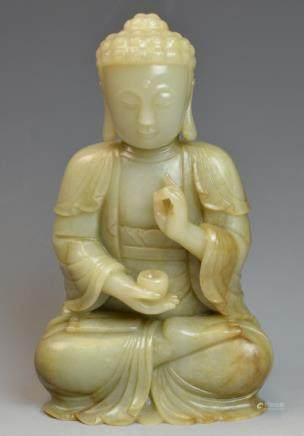 Chinese Jade Medidating Buddha Statue