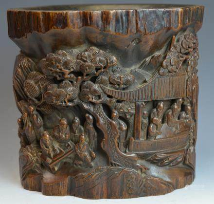 Chinese Intricately Carved Wooden Brushpot