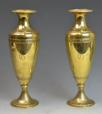 Pair of 14k Gold Flower Vases
