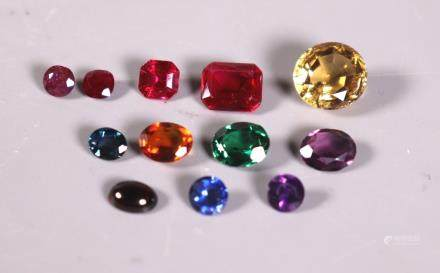 11 Colored Gemstones Faceted in Various Shapes