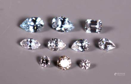 Group 10 Faceted Stones Possibly Diamonds; 8G