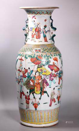Lg Chinese 19 Century Famille Rose Porcelain Vase