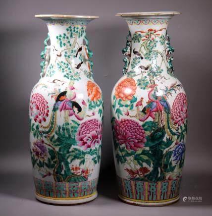 Near-Pair Chinese Large Enameled Porcelain Vases