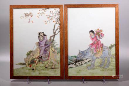 Two Chinese Immortals Porcelain Plaques