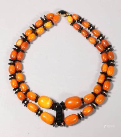 Deco Butterscotch Amber & Glass Necklace; 111.2G
